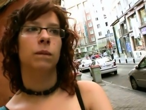 This busty nerd is picked up on the street by Torbe and