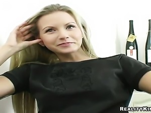 Blonde Jana with round bottom and bald beaver fingering her wet spot
