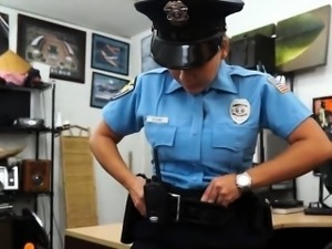 Big tits lady police officer pounded hard to earn some cash