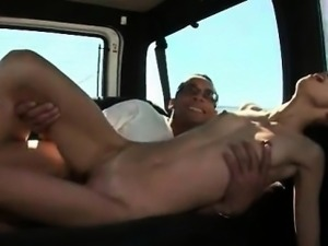 Skinny babe fucked hardcore on bus backseat