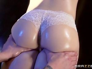superb brunette sucks her masseurs cock