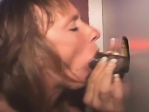 Mature Amateur Sucking Black Dick Through Glory Hole
