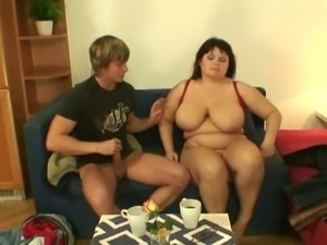 He picks up and bangs huge titted lady