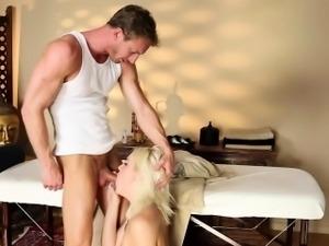 Teen sucks masseurs cock