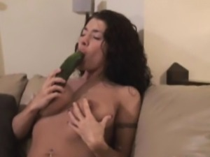 Girl sucks a vegetable then fucks herself