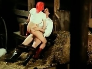 Bavarian nymph humping dick in a Tirol barn