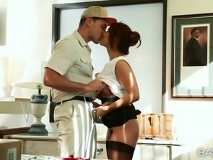 latina slut is bent over the desk and fucked hard