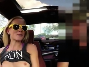 Slim amateur blond slut sells her car and sucks off for cash