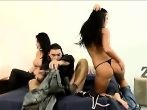 Perv makes a trio with 2 stunning Brazilian prostitutes