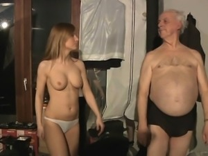 Lucky grandpa spent night with hot Russian babe
