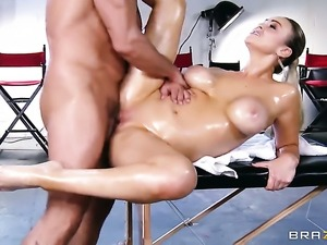 Toni Ribas shoots hos load after Abbey Brooks with gigantic boobs gives magic...