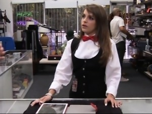 Cute amateur card dealer gets nailed by pervert pawn man