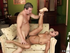 Teen breathtaker Veronika Jane spends her sexual energy with mans hard pole...