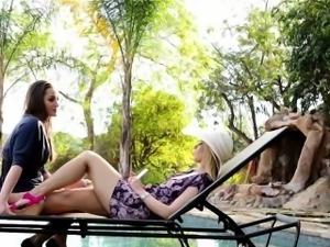 Hot babe poolside massage