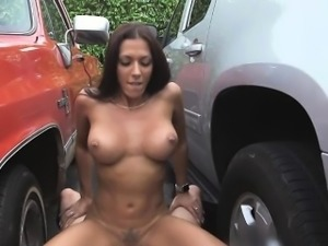 Rachel fucked from an alley to public garage
