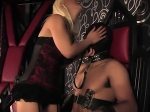 Rough mistress teases and humiliates subject