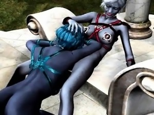 3D cartoon alien lesbian babe gets licked outdoors