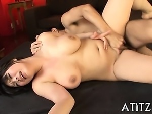 Large tits oriental is down on all fours to receive drilling