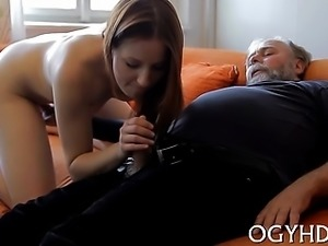 Beautiful young babe gets seduced by a horny old fucker