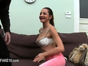 Horny blonde copulating on red ottoman