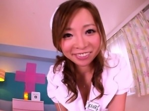 Pov uniformed asian nurse cum soaked