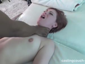 2 amateur redheads enjoying a BBC at casting