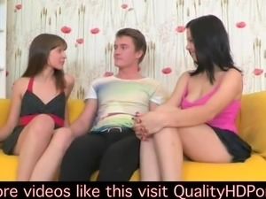 2 girls give a guy an amazing blowjob