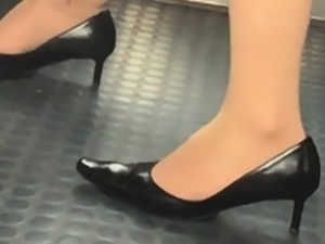 Stunning legs in sneakers high heel shoes in practice 11