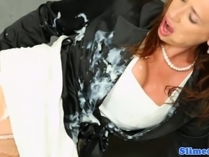 Classy lady bukkaked while rubbing clit