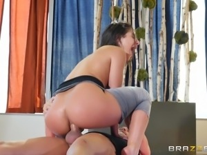 This hot girl is fucking hard with a big dick in her ass. There's deep anal...