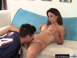 Eva Long seduces a hung stud to devour and drill her tight hairy slit
