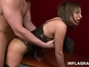 Sexy brunette Jana Bach is hotter than ever and wants cock urgently. She is a...