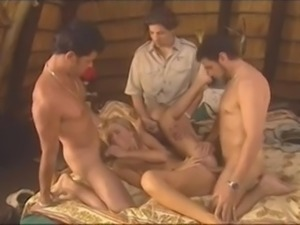 Blonde slut takes on 3 cock during safari in Africa - sluttypussycams.com