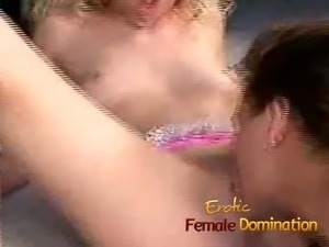 Sexy lesbian blondes have fun with a couple of big toys