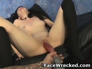 Brunette Lily Kristal Face Fucked And Machine Used On Pussy