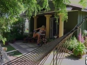 Hot blonde chick Jessa Rhodes rides her neighbors dick