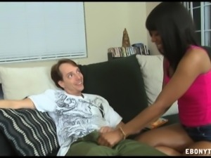 Lucky white dude has a sultry black babe sucking and stroking his dick