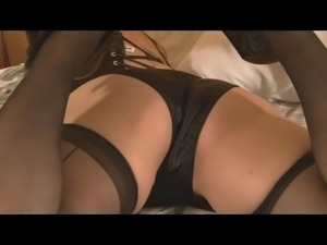 Dirty girl shows off black satin panties and lingerie