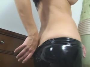 shiny latex ass
