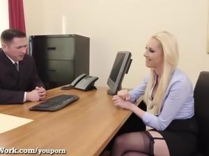Hot Blonde Fucks To Get The Job!