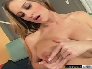 Curvy slut Abby Rhode slides a thick cock between her big boobs and in her cunt