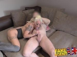 FakeAgentUK Petite blonde UK escort takes big fat cock