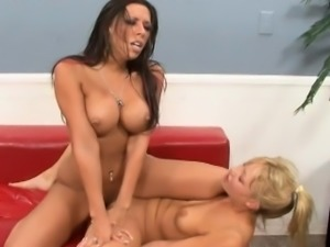 Foxy lesbian MILFs double dildo fuck each other and lick a slit