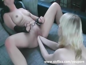 Hot brunette double fist fucked in handcuffs
