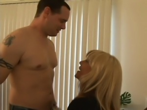 Blonde boss in stockings fucks employee