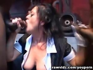 Slutty Whore MILF Nasty Interracial Threesome
