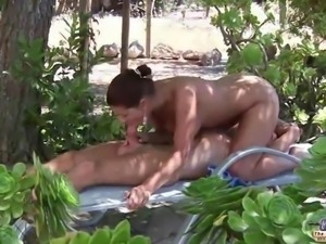 Busty young girlfriend big old cock outdoor anal fuck doggy style