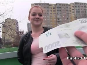Redhead Czech student banged outdoor
