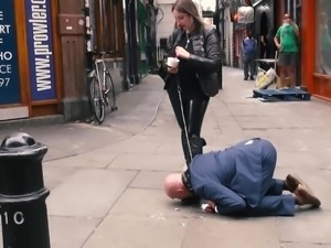 Mistress Evilyne CRUEL ENGL FemDom fed like a dog in public