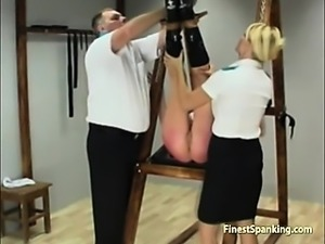 Blonde girl bound and disciplined
